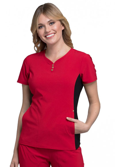 iFlex Women's V-Neck Button Placket Top Red
