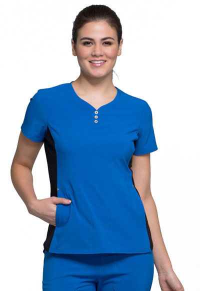 iFlex Women's V-Neck Button Placket Top Blue