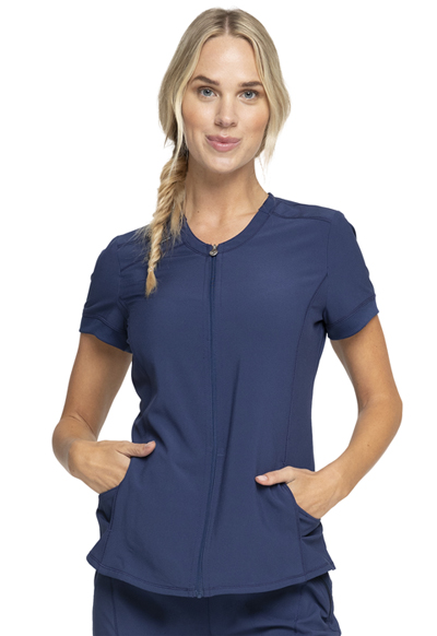 Infinity Women Zip Front V-Neck Top Blue