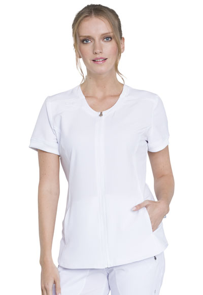 Infinity Women Zip Front V-Neck Top White