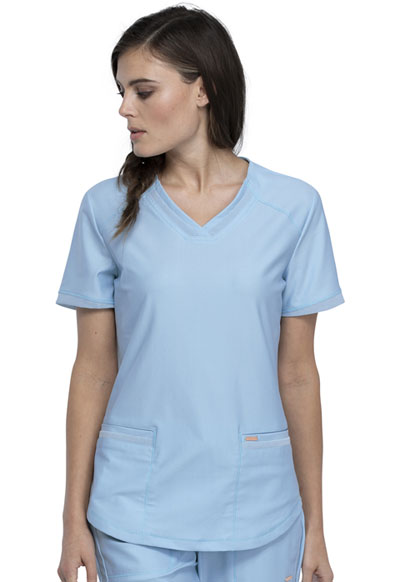 Cherokee Form Women V-Neck Top Blue