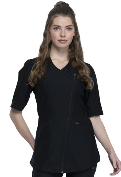 Cherokee Form Women Asymmetrical Zip Front Tunic Black