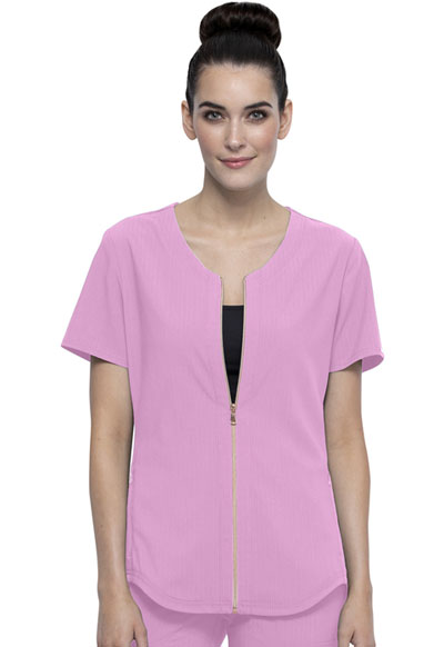 Statement Women Zip Front Top Pink