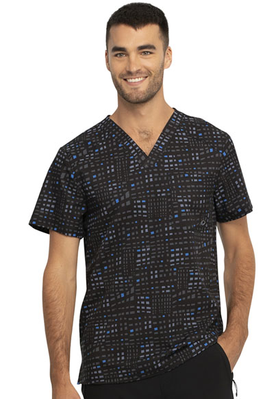 Infinity Men Men's V-Neck Top Glowing Grid