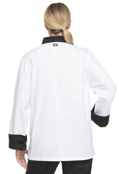 Dickies Unisex Classic 10-Button Chef Coat  DC46 White with Black