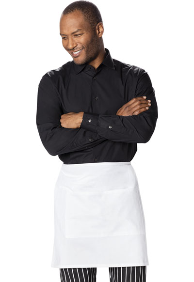 Dickies Chef Unisex Half Bistro Waist Apron with 2 Pockets White