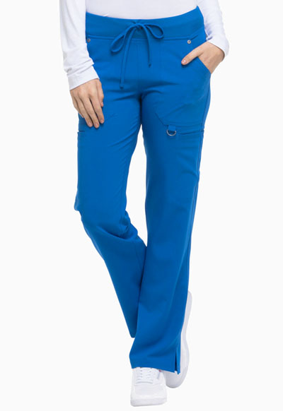 Xtreme Stretch Women Mid Rise Rib Knit Waistband Pant Blue