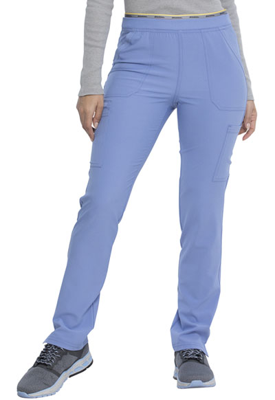 Retro Women Mid Rise Tapered Leg Pull-on Cargo Pant Blue