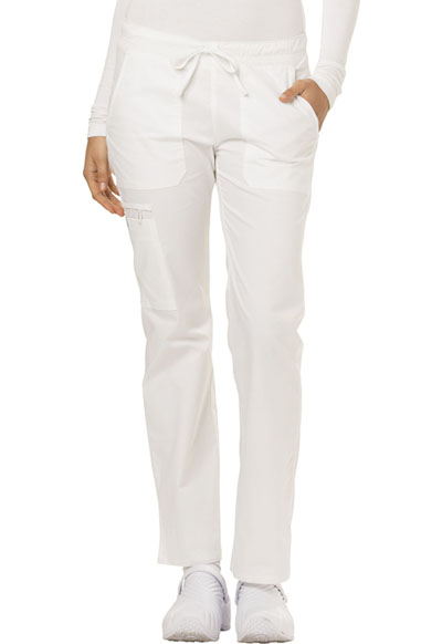 Gen Flex Women's Low Rise Straight Leg Drawstring Pant White
