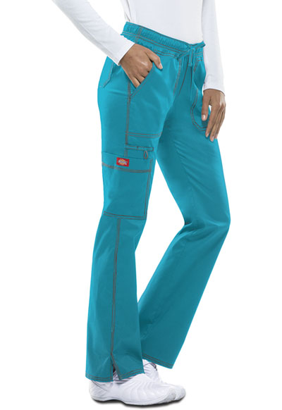 Gen Flex Women's Low Rise Straight Leg Drawstring Pant Blue