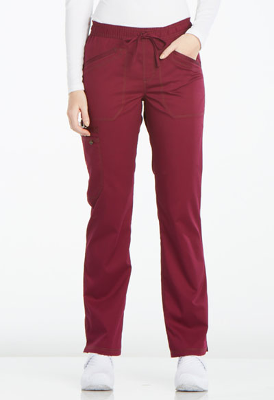 Essence Women Mid Rise Straight Leg Drawstring Pant Red