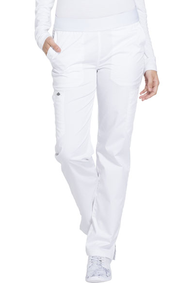 Essence Women's Mid Rise Tapered Leg Pull-on Pant White
