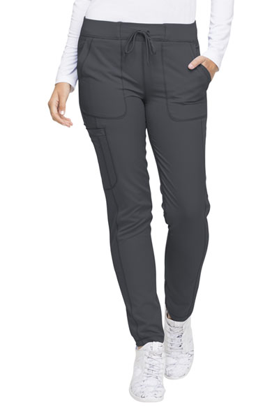 Dynamix Women's Natural Rise Skinny Drawstring Pant Gray