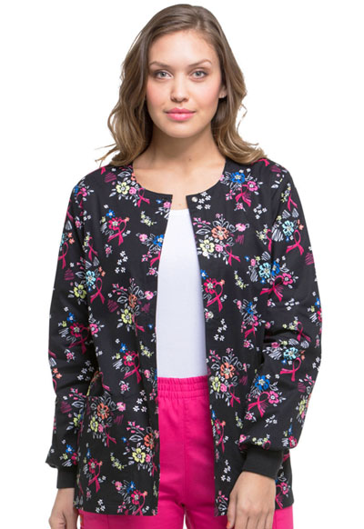 Dickies Prints Women's Snap Front Warm-Up Jacket Beautiful Petals