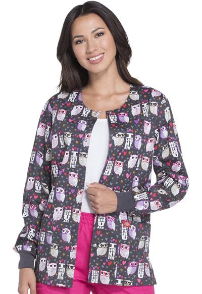 Dickies Prints Women's Snap Front Warm-Up Jacket Love Hoo U Are