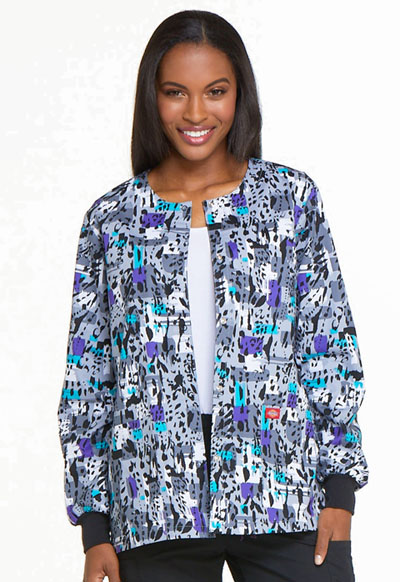 Dickies Prints Women's Snap Front Warm-Up Jacket Purr-fect Strokes