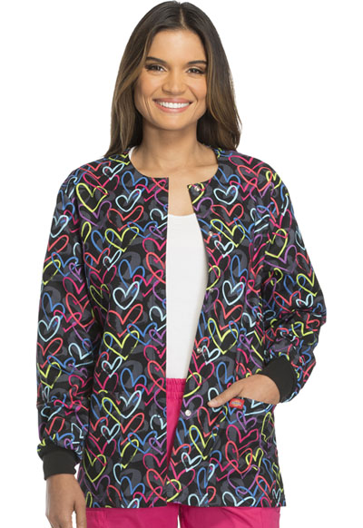 Dickies Prints Women's Snap Front Warm-Up Jacket Street Heart