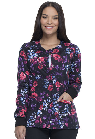 Dickies Prints Women Snap Front Warm-Up Jacket Blooming Twilight
