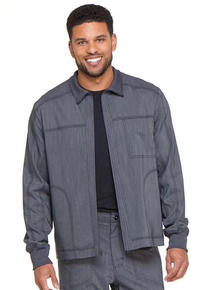Dickies Advance Two Tone Twist Men's Men's Zip Front Moto Jacket Pewter Twist