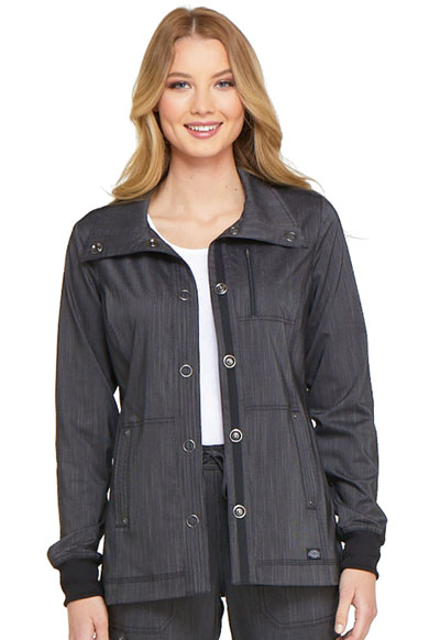 Dickies Advance Two Tone Twist Women's Snap Front Jacket Black