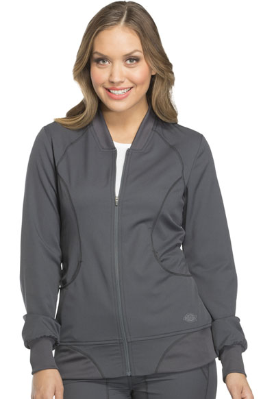 Dickies Dynamix Women's Zip Front Warm-up Jacket Gray