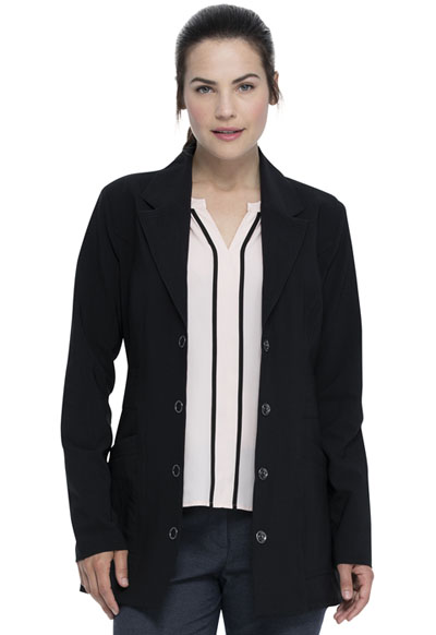 Advance Women 28 Notched Lapel Lab Coat Black