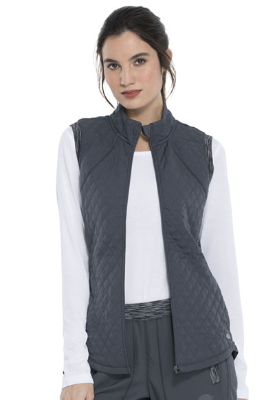 Dickies Dynamix Women Quilted Zip Front Vest Gray