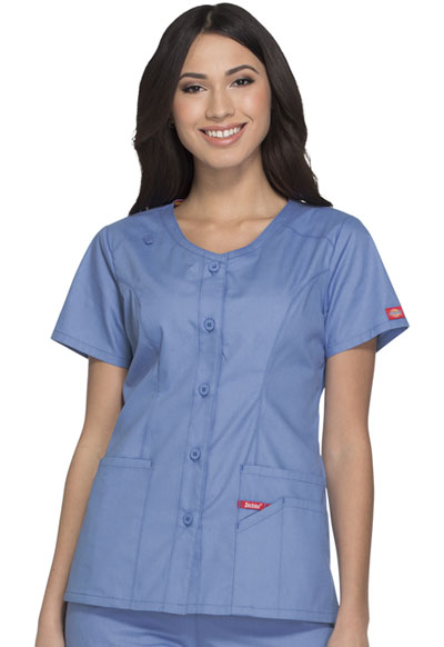 a9f2f907e1f Photograph of EDS Signature Women's Button Front V-Neck Top Blue DK605-CIWZ