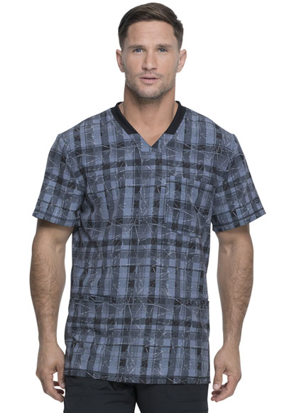 Dickies Dynamix Men Men's Rib Knit V-Neck Top Positively Plaid Pewter