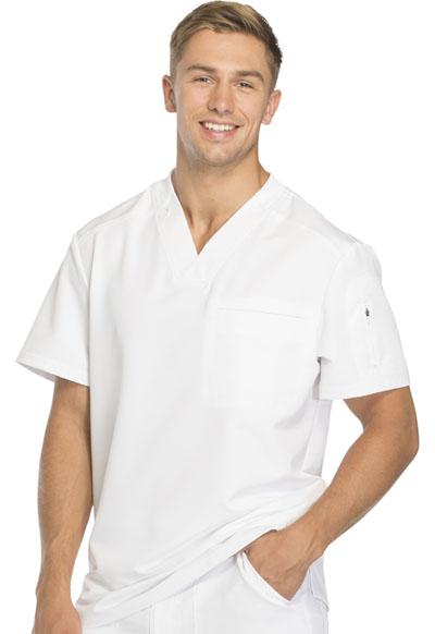 499077c70b6 Dynamix Men's V-Neck Top in White DK610-WHT from JMJ Medical Uniforms