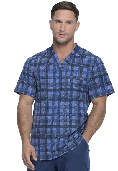 Dickies Dynamix Men Men's V-Neck Top Positively Plaid Navy