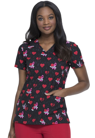 Dickies Prints Women's V-Neck Top Be-Cause Of You