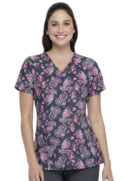 Dickies Prints Women's V-Neck Top Crazy For Paisley