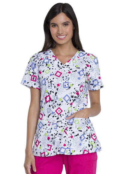 Dickies Prints Women's V-Neck Top Squares And Spots