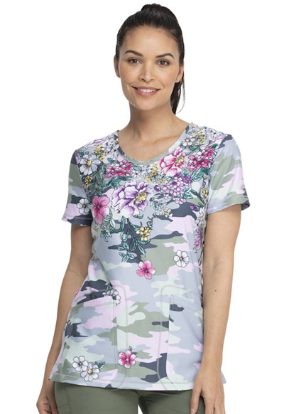 Dickies Dynamix Women V-Neck Top Flower Frenzy Camo