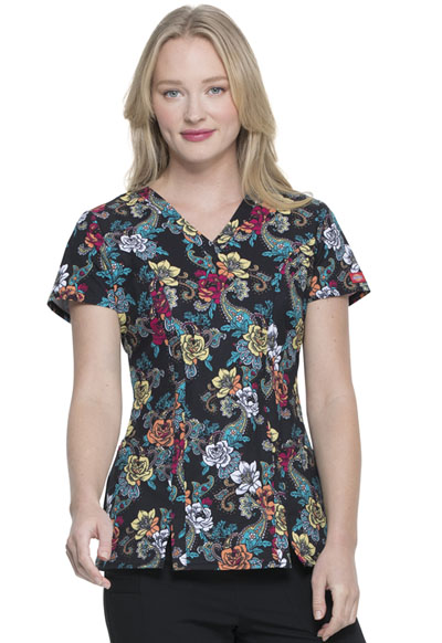 Dickies Prints Women V-Neck Top Wild Rose