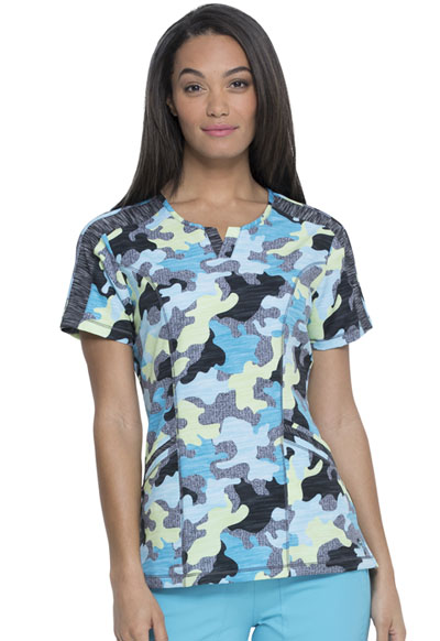 Dickies Dynamix Women Shaped V-Neck Top Totally Textured Camo