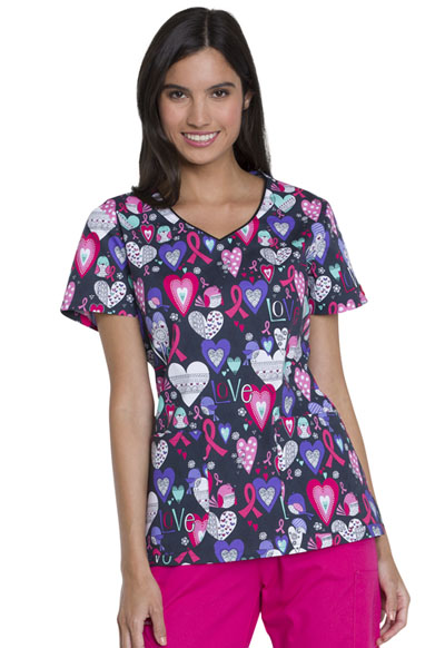 Dickies Prints Women's V-Neck Top Tweeting About Love