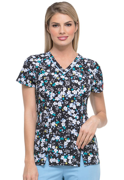 Dickies Prints Women's V-Neck Top In A Daisy Daze