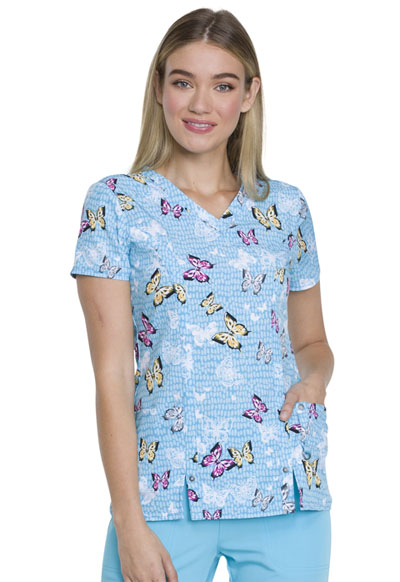 Dickies Prints Women's V-Neck Top Let's Butterfly Away