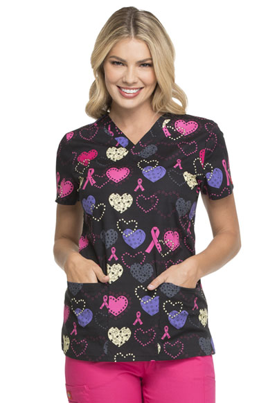 Dickies Prints Women's V-Neck Top Cosmic Caring