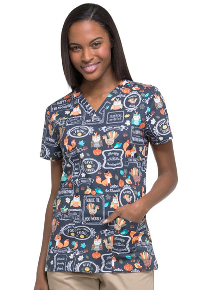 Dickies Prints Women's V-Neck Top Feasting With Friends