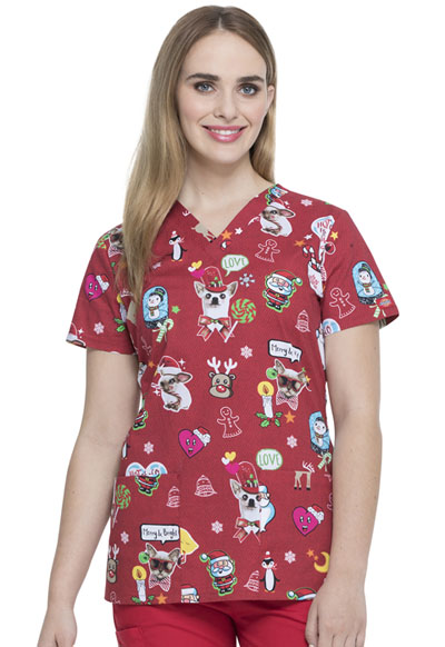 Dickies Prints Women's V-Neck Top Hello Christmas