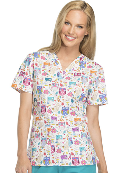 Dickies Prints Women's V-Neck Top Hoo's In The Forest