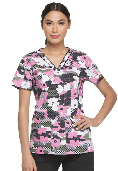 Dickies Prints Women's V-Neck Top Peek A Blooms