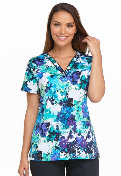 Dickies Prints Women's V-Neck Top Take It Or Leaf It