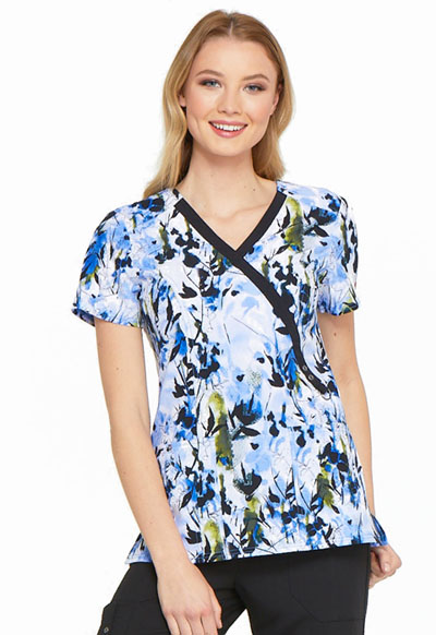 Dickies Prints Women's Mock Wrap Top Brush With Beauty