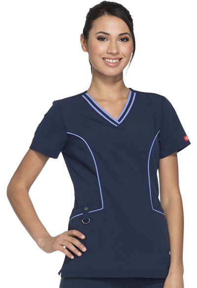 Xtreme Stretch Women's Contrast Piping V-Neck Top Blue