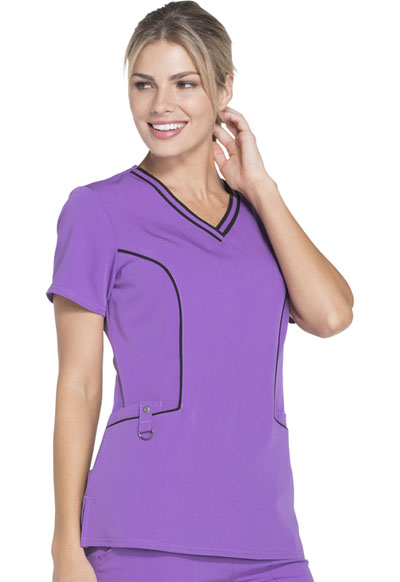 8ff99d94e43 Photograph of Xtreme Stretch Women's Contrast Piping V-Neck Top Purple  DK715-PLCS