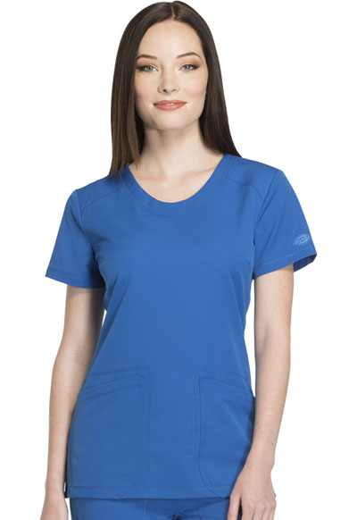 Dynamix Women's Rounded V-Neck Top Blue